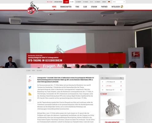 Bericht des 1. FC Köln über die Tagung der Psychologen der Leistungszentren